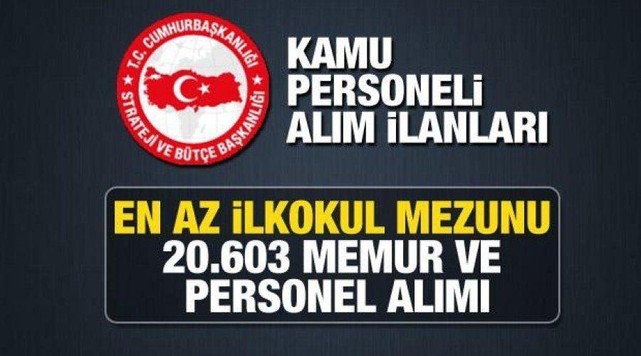 Kamuya ve belediyelere KPSS 60 puan ile 20.603 memur ve personel alımı